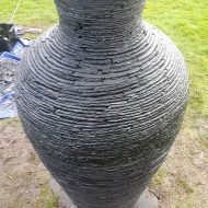 Stacked slate vase sculpture