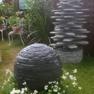 Slate sphere and Blue Spruce