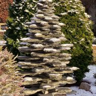 slate tree sculpture in winter