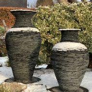 pair of vase slate sculptures